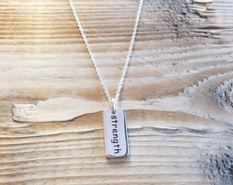 Strength Charm Necklace, Strength Necklace, Silver Strength Necklace, Inspirational Charm Necklace, Strength Tag Necklace