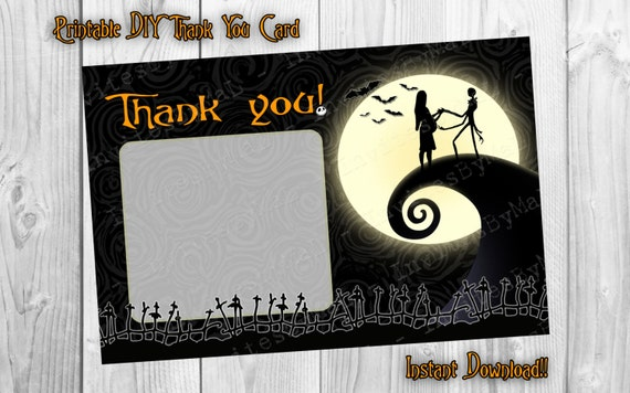 nightmare before christmas baby shower fill in thank you card 4x6