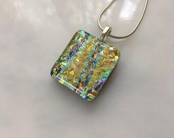 Dichroic Glass Pendant, Fused Glass Jewelry, Gold Purple Aqua Necklace