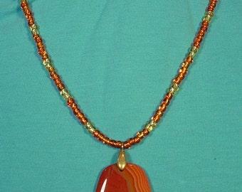"""Gorgeous 18"""" Sparkling Orange necklace with Sardonyx Agate Pendant - N401"""