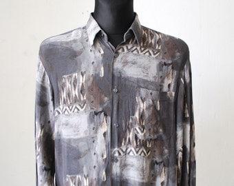 80s 90s men's slouch shirt. watercolor painting shirt. grey silky shirt. abstract print summer shirt. oversized Oxford shirt - medium, large