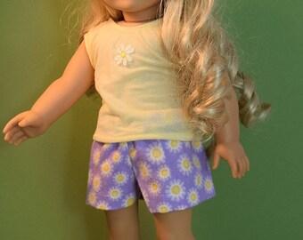 Cute daisy summer pajamas for 18 inch dolls