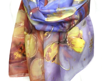 Tulips Hand Painted Silk Scarf. Woman Anniversary Birthday Gift. Fashion Floral Shawl Wearable Art Scarfs. Silk Painting 18x71in MADEtoORDER