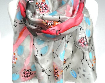 Hand Paint Scarf. Cute Elegant Scarf. Silk Painting. Unique Handmade scarf. Mom Birthday. Silk Art Scarf Silk. 14x71in. Ready2Ship