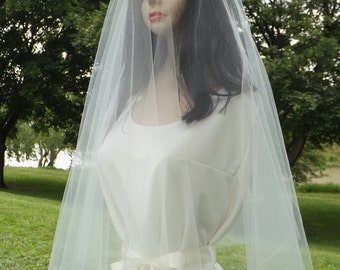 Elbow Length Wedding Veil - Waist Length - Raw Plain Edge - Circular 30/30 - Drop Veil - White, Diamond, Ivories