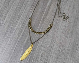 Gold brass pendant necklace. Feather pendant necklace with multiple chain. Hippie jewelry.