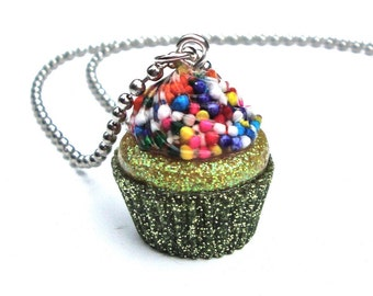 Cupcake pendant, light green and yellow cupcake necklace, sprinkles pendant necklace, kawaii candy resin jewelry by Sparkle City Jewelry