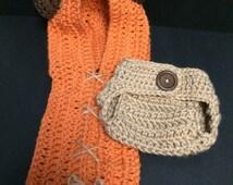 Ewok Inspired Crochet Hood and Diaper Cover Set - Star Wars Inspired Crochet Hood and Diaper Cover Set - Handmade - Newborn - 12 Mos