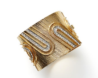 Clearance SALE was 350 now 150 stunning vintage 60's/70's DONALD STANNARD gold chunky geometric cuff bangle with studded crystals
