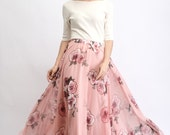Chiffon Floral Skirt – Pink Floral Print Sheer Summer Made-To-Measure Woman's Maxi Skirt With Elasticated Waist (C477)