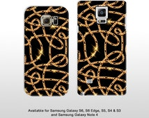 Samsung Galaxy S7 Edge S6 & Note 4 5 gold chains pattern cell phone case. Bling gold chains jewellery samsung galaxy s5 s4 s3 note 4 FP166