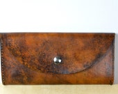Leather wallet clutch patina dream (brown)