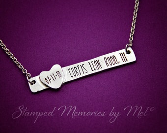 Baby's Name and Birthday - Hand Stamped Pewter Necklace - Mommy Jewelry - Personalized Bar with Heart - Grandma, Daughter, Mother Gift