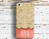Personalized wedding gift, iPhone 6 case for women, Coral iPhone 5s case, Pretty Iphone 6s case, Girly Iphone 5c case, Tangerine lace (9643P