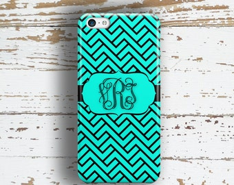 Preppy gifts, Girls monogram Iphone 6 case, Turquoise iPhone 4 case, Cute iPhone 5c case, Preppy iPhone 5 case, Dark turquoise black (1278)