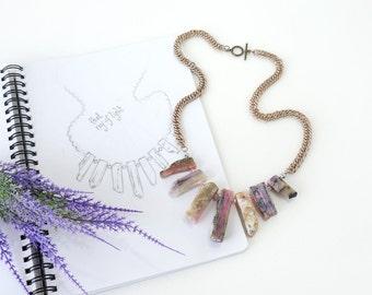 Raw Pink Peruvian Opal Statement Necklace, Raw Stone Bars, Inspired Fashion Designer Jewelry