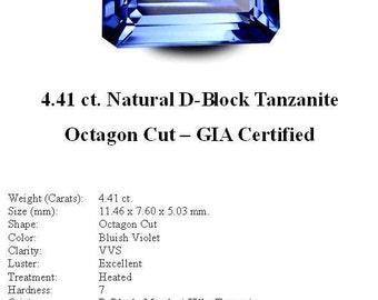 GIA CERTIFIED TANZANITE - Stunning 4.41 Carats of Bluish Violet D-Block Tanzanite in an Elegant Octagon Cut..