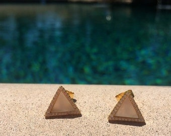 Mother Pearl Triangle Studs