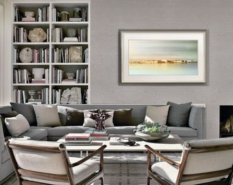 Panoramic art print, St Petersburg city art, pastel mint photography, Panoramic large wall art photo, living room decor, 10x20, 12x24, 18x36