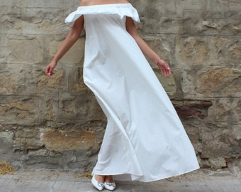 White Maxi Dress, Ruffle dress, off shoulder dress, Cotton dress with pockets, Long Dress, Party Dress