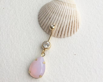 Pink Belly button ring, gold belly ring, rose quartz, belly button ring, bellybutton ring, pink,teardrop GOLD