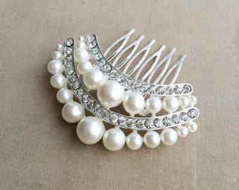 Bridal Pearl Comb, SALE, Pearl comb, Bridal Pearl Hair Comb, Art Deco comb, art deco headpiece bridal hair accessories wedding CRESCENT