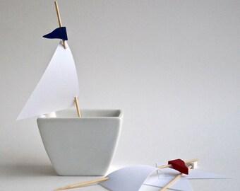 Nautical Sail Cupcake Toppers, Set of 24