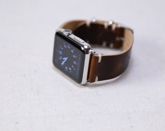 Apple Watch Band: Horween Leather Strap in Color 8 Chromexcel, Custom Wearable Technology, Apple Watch Adapters, Slide Hardware