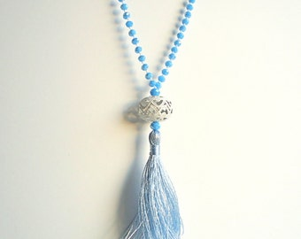 Tassel necklace, Baby Blue necklace, Aqua blue necklace, Pale Blue necklace, Rosary necklace, boho necklace, summer necklace, beach necklace