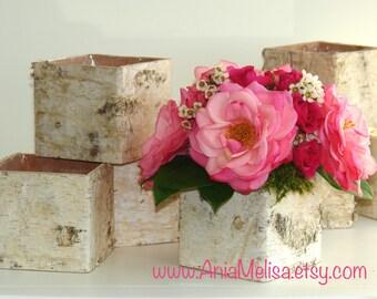 birch bark vases, wood boxes floral arrangement square flower pot, centerpieces planter rustic, chic wedding table decor