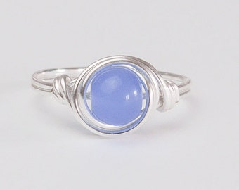 Blue Quartz Ring, Sterling Silver Wire Wrapped Ring, Any Size, Gift Ideas