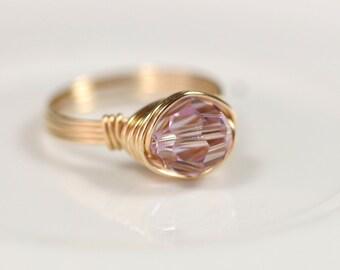 Gold Lavender Swarovski Crystal Ring Wire Wrapped Jewelry Handmade Gold Lavender Ring Swarovski Crystal Jewelry Gold Wire Ring Lilac Ring