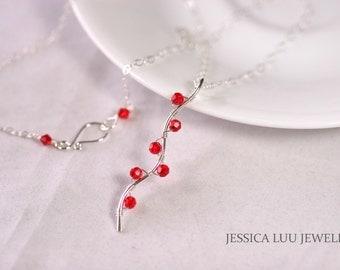 Red Swarovski Necklace Wire Wrapped Jewelry Handmade Sterling Silver Jewelry Handmade Swarovski Crystal Jewelry Swarovski Crystal Necklace