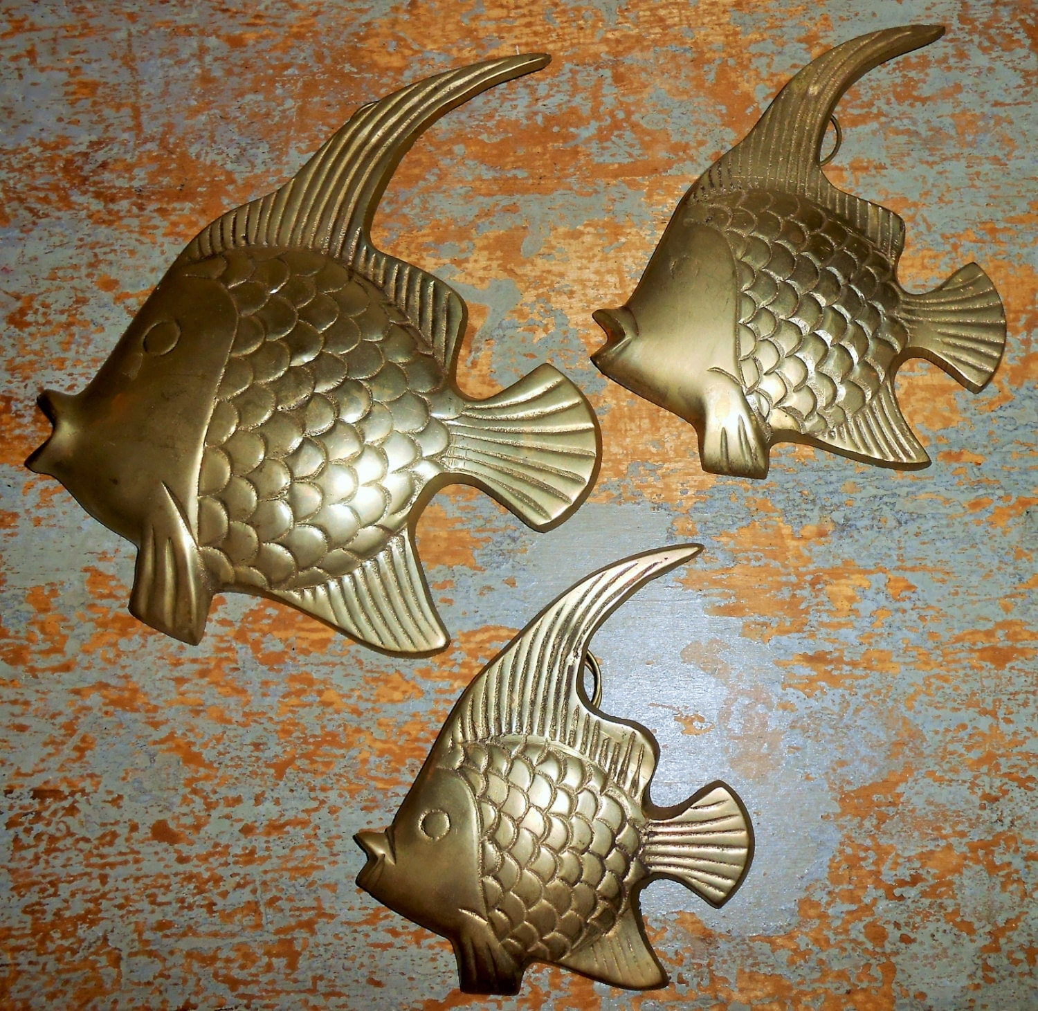 Vintage brass fish wall decor brass fish decor beach for Fish wall hanging