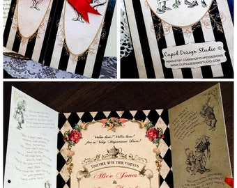 Elegant Alice In Wonderland Invitation. Mad Hatter Tea Party Wedding  Invitation. Alice Sweet Sixteen