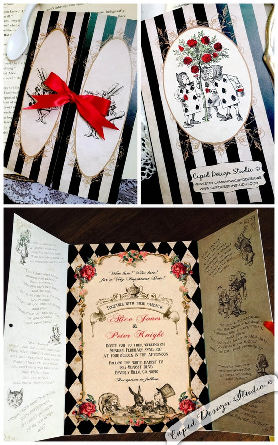 elegant alice in wonderland invitation. mad hatter tea party, Invitation templates