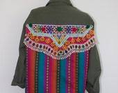 Santa Fe Army Jacket One of a kind vintage embellished army jacket