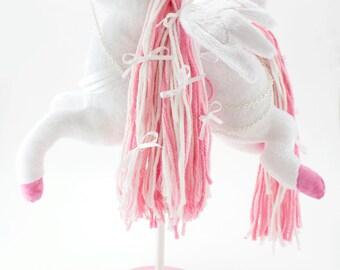 Pegasus Carousel Horse Plush, Stuffed Animal, Soft Sculpture, Art Doll