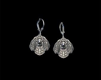 American Water Spaniel earrings - sterling silver.