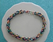 Multicolored Enameled Copper Chainmaille Bracelet