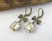 Clear Crystal Rhinestone Earrings - Drop Charm Earrings - Bow Earrings - Vintage inspired Earrings - Antique Brass Earrings