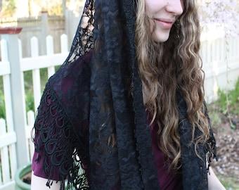 Black Chapel Veil / Catholic Mass Veil / Black Lace Mantilla / Catholic Headcovering / The Philomena Veil.