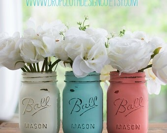 Coral Aqua Cream Painted and Distressed Mason Jars - Wedding Centerpiece, Vases, Bridal and Baby Showers, Parties