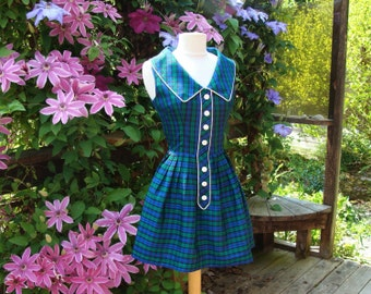 50's Plaid Taffeta Dress Shirtwaist