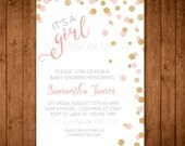 Baby Girl Shower Invitation. Gold and Pink Baby Shower. Glitter Confetti Invitation. It's a Girl Baby Shower. Pink Baby Shower Invitation.