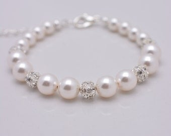 Set of 6 Pearl Bracelets, Set of 6 Bridesmaid Bracelets, 6 Pearl and Rhinestone Bracelets, Pearl and Crystal Bracelets - Adjustable 0210