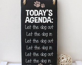 Wooden sign - schedule for a dog owner, handmade