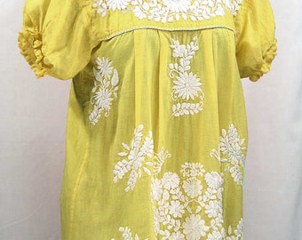"""Mexican Peasant Blouse Top Hand Embroidered: """"La Mariposa"""" Yellow"""