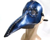 Plague Doctor mask ,  IN STOCK blue dyed leather with metal mesh lenses, silver buckles swivel hook, PlagueDoctor