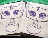 kawaii pastel unicorn cat vinyl decal - cute manga anime style kitty art sticker - girly fantasy car laptop decoration